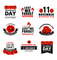 red poppy flower icon for remembrance day design vector image vector image