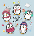 set of cute cartoon christmas penguins vector image vector image