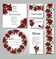 set of handpainted flower wedding invitation card vector image