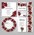 Set of handpainted flower wedding invitation card
