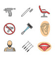 tattoo studio color icons set vector image vector image