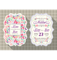 vintage flower wedding invitation card vector image vector image