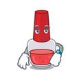 waiting nail polish mascot cartoon vector image