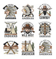 wild west isolated icons set vintage signs vector image vector image