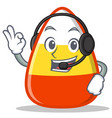 with headphone candy corn character cartoon vector image vector image