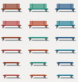 Set of different types benches vector image