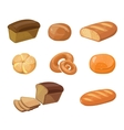 Bread bakery products cartoon icons vector image