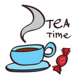 mug with tea and candy clipart color on a white vector image