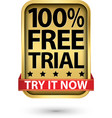 100 free trial try it now golden sign vector image vector image