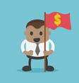 african businessman hold red flags and dollar vector image