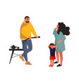 angry father frightened mother and baby family vector image