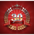 Anniversary 30th ring with red ribbon vector image vector image
