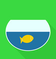 Aquarium with Gold Fish Flat Design Icon vector image