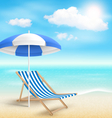 Beach with Sun Beach Umbrella Beach Chair and vector image vector image