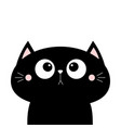 black cat face head icon cute cartoon character vector image vector image