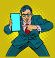 businessman shows on smartphone mobile vector image vector image
