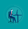 businessman working overtime on the computer vector image