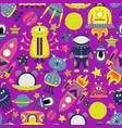 cartoon seamless pattern with flat aliens vector image