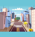 cartoon urban crossroad concept vector image vector image