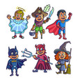 cheerful children in creative halloween costumes vector image