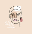 continuous linear drawing woman face with vector image