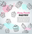 cupcake background with handdrawn cupcakes and vector image vector image