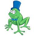 cute cartoon party frog mascot character vector image