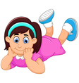 cute little girl cartoon prone vector image vector image