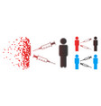 dissipated dot halftone men syringe exchange icon vector image vector image