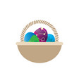 easter egg empty basket vector image vector image