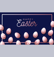 easter holiday background with rose gold 3d vector image