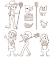 Farmers and animals vector image vector image