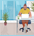fashionable designer working in modern office vector image vector image