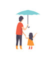 father walking with his little daughter under an vector image