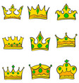 Glamour style gold crown set doodle vector image