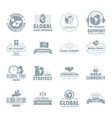 global business logo icons set simple style vector image vector image