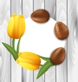 Greeting Card with Easter Chocolate Eggs and vector image vector image
