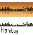 Hamburg skyline in orange background vector image vector image