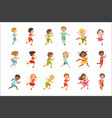 kids running set vector image