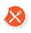knife AND fork ORANGE LABEL vector image vector image