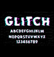 Latin alphabet trendy style distorted glitch