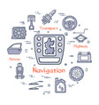 linear round banner of navigation system vector image