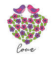 love card with birds on heart of the flowers vector image