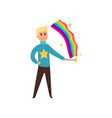 magician man creating colorful rainbow by magic vector image vector image