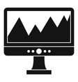 Monitor and a chart icon simple style vector image vector image