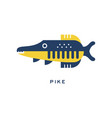 pike freshwater fish geometric flat style design vector image vector image