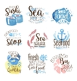 Seafood Cafe Promo Signs Colorful Set vector image