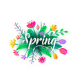spring word background with flat minimal vector image