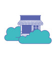store facade with clouds in blue and purple color vector image vector image