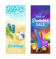 summer beach 2 vertical banners vector image vector image